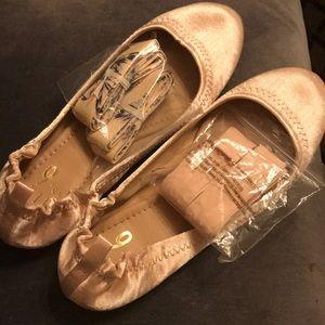 Ballet pink ballet slipper flats
